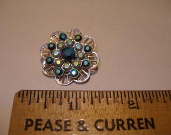 Blue Rhinestone Flower Pin(414)