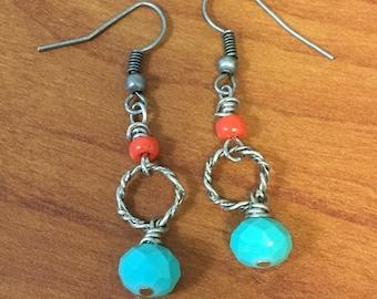 Turqoise coral dangle earring