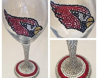 AZ Cardinals Rhinestone Wine Glass