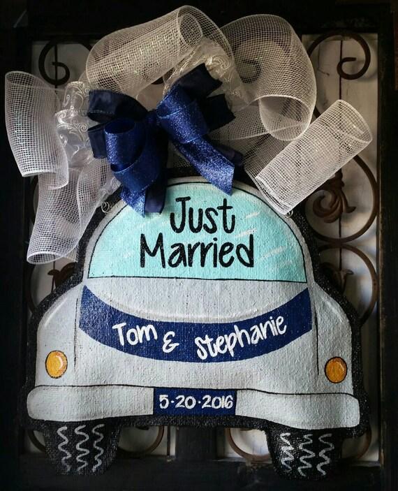 Just Married Burlap Door Hanger Decoration And Wreath