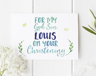 Personalised Godson Card For Christening - The Perfect Personalised Card For Your New Godson At Their Christening - Personalized Stationery