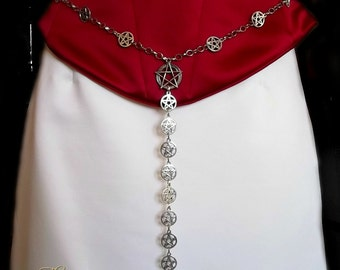 Pentagram Girdle Belt, Silver Pentacles Girdle Belt, Witches Belt, Wiccan, Wicca, Crone, Pagan, Goddess, Gothic, Goth, Accessories, Costume
