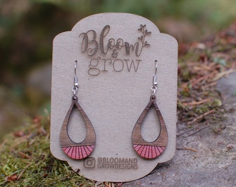 Wooden Earrings - Teardrop Circus - Red