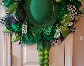 """St. Patrick's Day Wreath. 24""""deco mesh wreath with shamrock ribbon, leprechaun hat, bow tie and legs. St pats day"""
