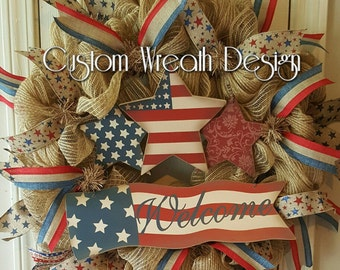 Patriotic Burlap Wreath for the 4th of July and Memorial Day.