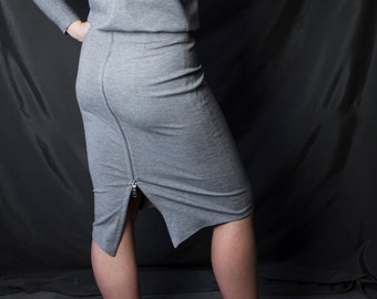 STELLA Skirt - Gray jersey pencil skirt with tails and zipper closure in the back