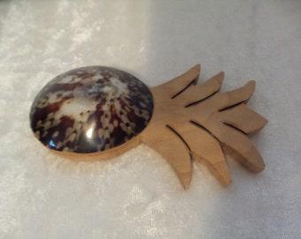 Maple Wood Fridge Magnet / Limpet Shell Pineapple