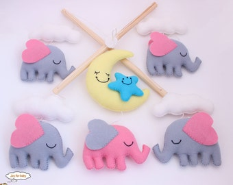 READY TO SHIP - Elephants with Moon and Clouds Mobile, Baby Mobile, Mobile, Nursery Mobile, Nursery Decor, Felt Mobile, Crib Mobile