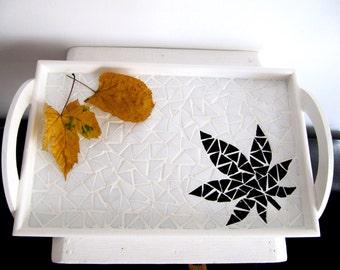 Weed Tray Serving Tray Mosaic Tray Black Tray White Tray  Weed serving Tray Wood Tray Mosaic Serving Tray Handmade Office Tray Garden Tray
