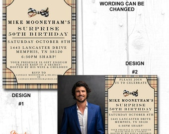 40th birthday invitations for men, 30th birthday surprise invitations, adult birthday party invitations, 30th birthday for him