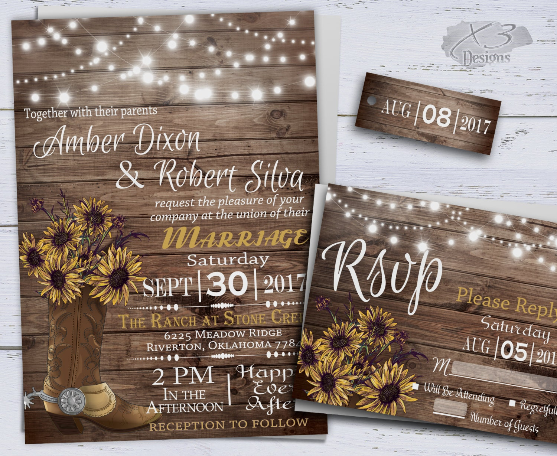 Sunflower Wedding Invitations Printable Rustic