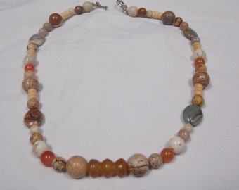 Beaded necklace,hand made, one of a kind Carnelian