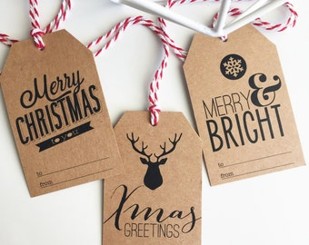 Set of 12 Christmas Gift Tags - recycled