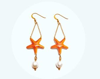 Starfish Earrings with pearl Star Fish Dangle Earrings Starfish drop Earrings Starfish Jewelry Gift Idea