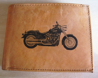 "Mankind Wallets Men's Leather RFID Blocking Billfold w/ ""Harley Davidson Motorcycle"" Image~Makes a Great Gift!"