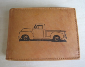 """Mankind Wallets Men's Leather RFID Blocking Billfold w/ """"1950 Chevrolet Truck"""" Image~Makes a Great Gift!"""