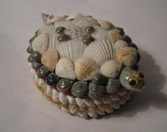 Vintage Turtle Jewelry Box Sea Shells