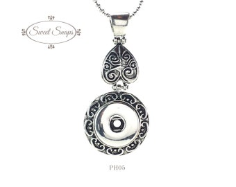Silver-toned Pendant, heart, antiqued necklace, snap jewelry (PH05)