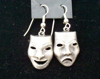 Comedy and Tradgedy Mask Earrings - Hook - French Wires - 1980s - Pewter with Hypo Allergenic Earwires  - Dangle Drop Earring - Theater