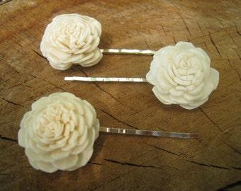 Hair pin sola flower wedding bridal hair pins set of 3