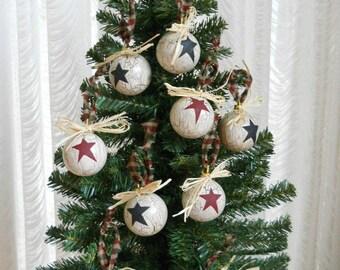 primitive black star christmas bulbs rustic ornaments