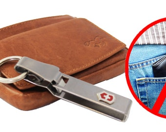 Leather Card and Keycase Holder and Victorinox Chain . Small Smart Wallet for Cards , ID , Bank / VISA and Coins. Two Rings