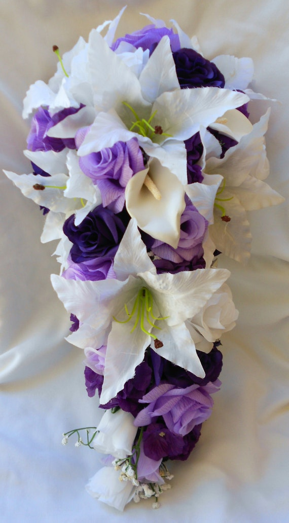 Bridal bouquet royal purple lavender and white  callas , lilies and roses 2pc