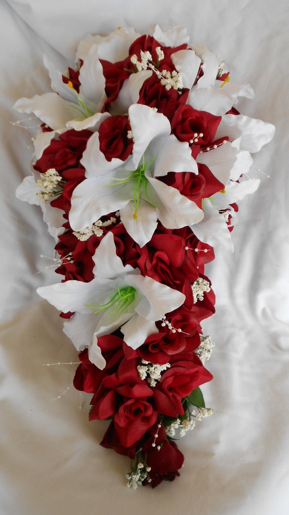 Cascade Bouquet red roses and casablanca lilies small pearl spread and babie  breath
