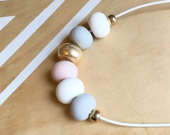Polymer clay bead necklace. Dusty pink, gold, grey, white 'the Rachel'