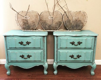 SOLD - Mint Blue French Country Style Nightstands