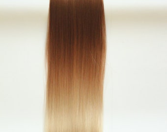 """22"""" Full Head Clip in Dip dye Ombre Hair Extensions Synthetic Straight 6pcs Set (Col. light brown to sandy blonde)"""