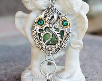 Steampunk dragon necklace, swarovski necklace, fantasy necklace, dragon necklace, emerald necklace, silver necklace