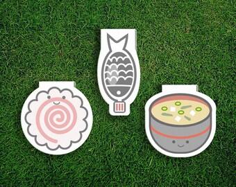 Magnetic Bookmark | Japanese Food Bookmark Set Japan, Japanese, Soy Sauce, Narutomaki, Naruto, Miso, Cute, Quirky, Kawaii, Food