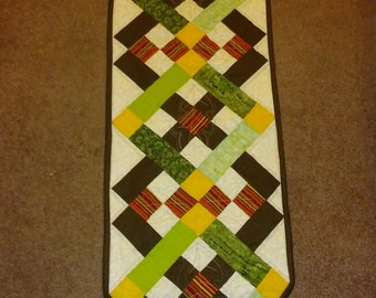 """Fall Squares table runner 14"""" wide x 55 1/2"""" Long"""