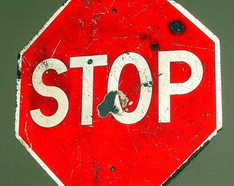 Shot Up Stop Sign with Bullet Hole Old Country Stop Sign