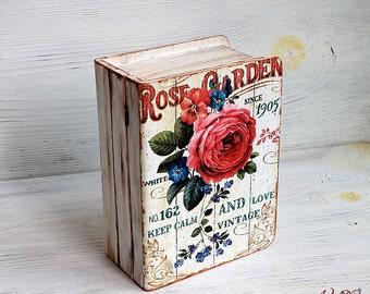 Custom Photo Box, Wooden jewelry box, decoupage box, shabby box, Custom designed, Rose box, keepsake box memory box photo box decorative box
