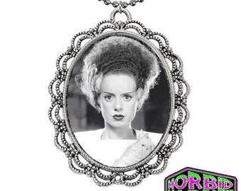 ON SALE Universal Monsters Bride Of Frankenstein LARGE Cameo Horror Necklace