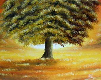 Autumn Tree Fall Art Original 11x14 Acrylic On Canvas Board By Sunscapes Art