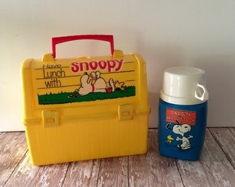 Vintage 1968 Have Lunch With Snoopy Lunch Box and Thermos Snoopy and Woodstock Yellow Lunch Box with Thermos