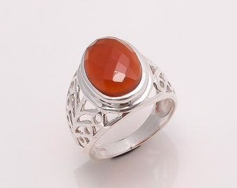 925 Solid Sterling Fine Silver Red Onyx   Ring