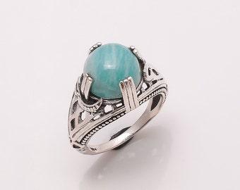 925 Solid Sterling Fine Silver Amazanite Ring