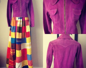 Buttery suede purple 1960s cropped jacket!