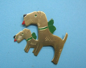 Old Gold Tone and Enamel Terrier Brooch