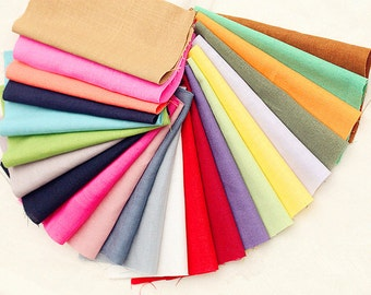 Bundle Fabric Solid Linen Cotton Fabric Sets for 10 each for Quilting Cloth Bag 35X25cm bf07