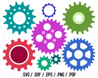 Gears SVG, Industrial Clip Art, Steampunk Gear Design Files, Silhouette Software, dxf files, EPS File, Cricut Design Space - CA350
