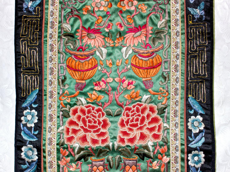 antik munkstol ~ chinesisch gestickt textil panel verboten stiche peking knoten
