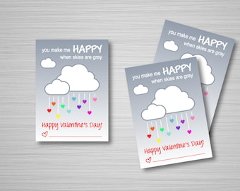 """Cloud Valentines Printable Download - Valentine's Day Cards - 2.5""""x3.5"""" - Cloud + Rainbow Heart Raindrops - Classroom Valentines"""