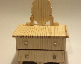 """Unfinished Doll Furniture- Dresser - Doll Dresser with mirror- great for dolls 10-12"""""""