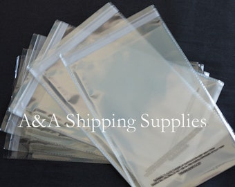 SELF SEAL 50 or 100 or 150 or 200 11x14 1.5 mil Lip & Tape Clear Poly Bags w/Suffocation Warning