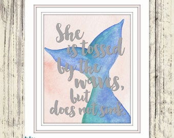 mermaid home decor pink and blue mermaid decor inspirational quote - Mermaid Home Decor